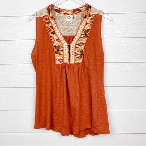 Anthropologie Akemi and Kin Orange Shirt Size L